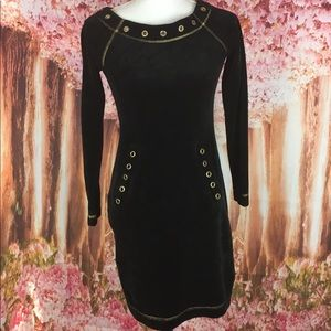 Boston proper velvet studded dress black and gold